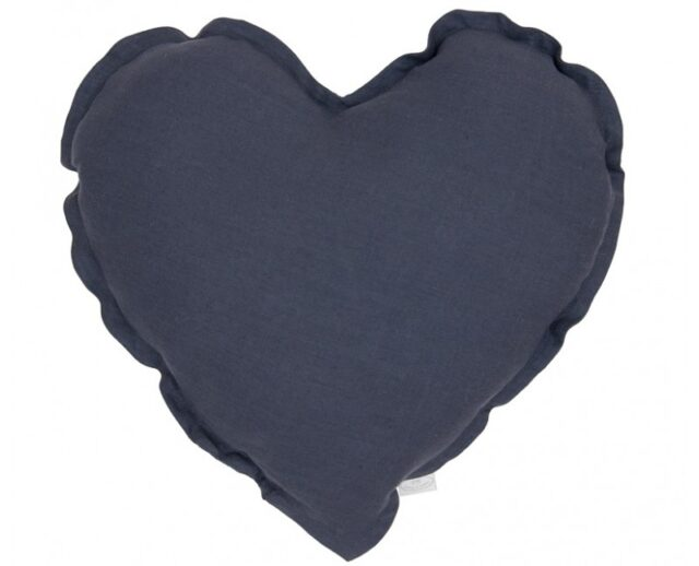 Cotton & Sweets kudde hjärta - Graphit