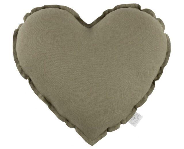 Cotton & Sweets kudde hjärta - Olive