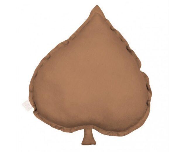 LINEN LINDEN LEAF PILLOW CHOCOLATE