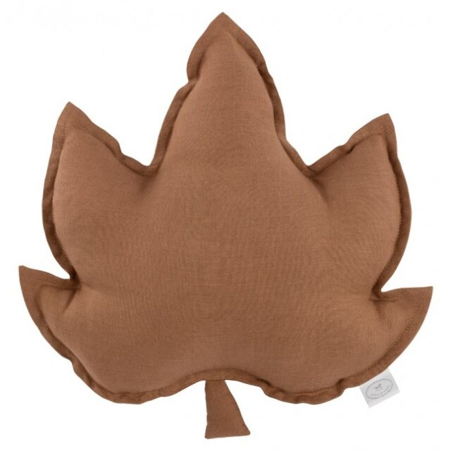 LINEN MAPLE LEAF PILLOW CHOCOLATE